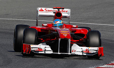 Fernando Alonso takes a corner in his Ferrari during practice for the Spanish Grand Prix
