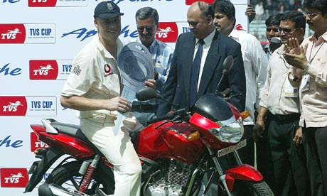 Andrew Flintoff on his man-of-the-match prize at this ground in 2006