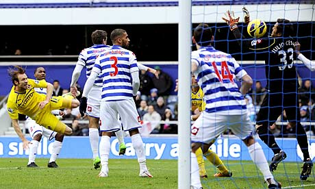 Reading's Kaspars Gorkss scores