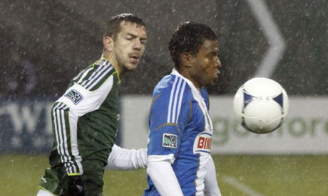 Philadelphia Union's Lionard Pajoy and Portland Timbers' Eric Brunner. MLS