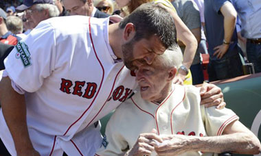 Jason Varitek and Johnny Pesky
