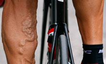 The legs of BMC Racing Team rider George Hincapie