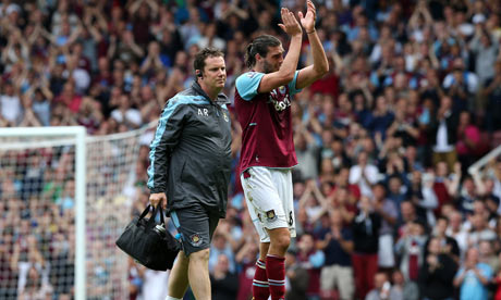 West Ham's English striker Andy Carroll