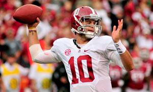Alabama quarterback A.J. McCarron reaches back to pass
