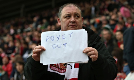 A Sunderland fan lets his feelings on Gus Poyet be known during the defeat to Aston Villa