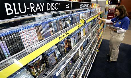 Blu-ray discs in a Best Buy store