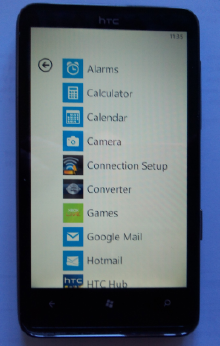 Windows Phone 7: apps list