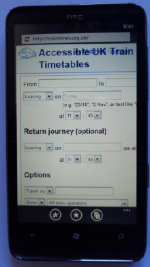 Win Phone 7 displaying traintimes site