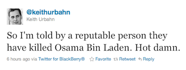 First tweet on Osama bin Laden's death