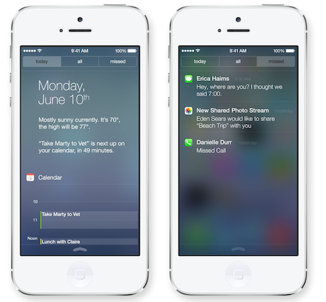 iOS 7 Notification Centre