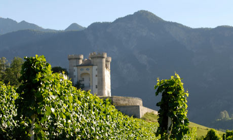 Valle d'Aosta castle (Aymavilles Castle) with wine vineyards, Italian Alps