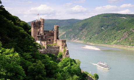 Burg Rheinstein castle overlooking the Rhine.