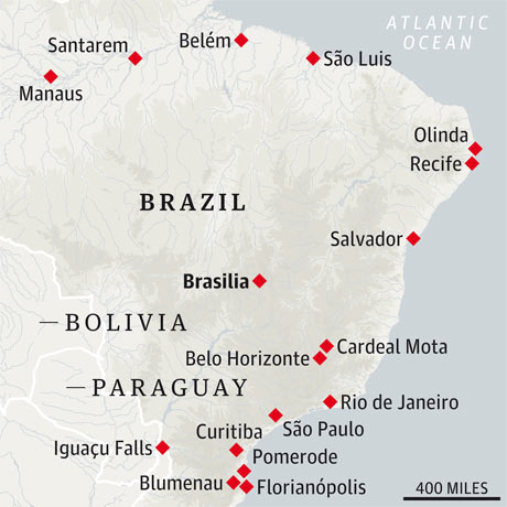 Brazilian cities and towns Michael Palin visited