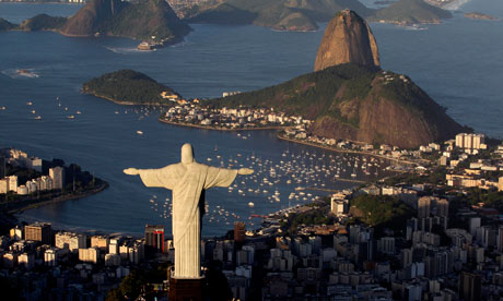 The statue of Christ the Redeemer is seen with the Sugar Loaf mountain at back in Rio de Janeiro