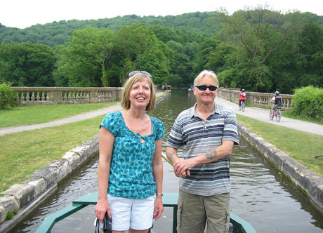 Cathy Sibley and husband on their barge holiday