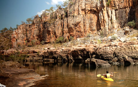 canoe on Katherine River at Nitmiluk National Park near Katherine, Northern Territory, Australia