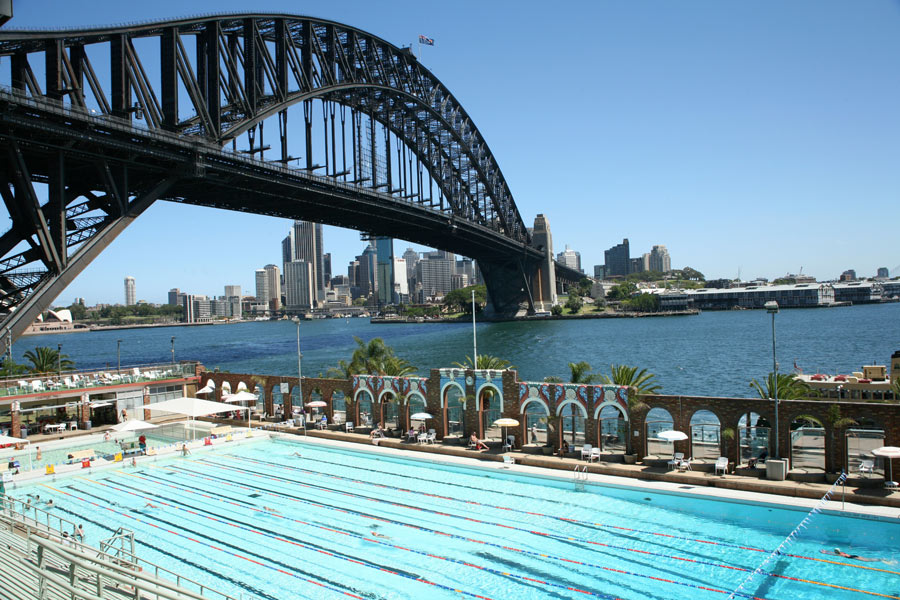 north sydney olympic pool and harbour bridge view larger picture - Olympic Swimming Pool Top View