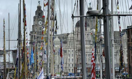 The Liver Building glimpsed through the rigging of some of the ships berthed in Albert Dock