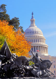 Washington DC, Ulysses S Grant Monument and The Capitol Dome