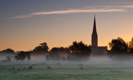 Salisbury Cathedral viewed from Harnham Water Meadows at sunrise