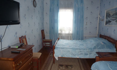 A bedroom at the Zakharovs' B&B