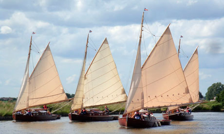 1930's wooden sailing yachts on the Norfolk Broads