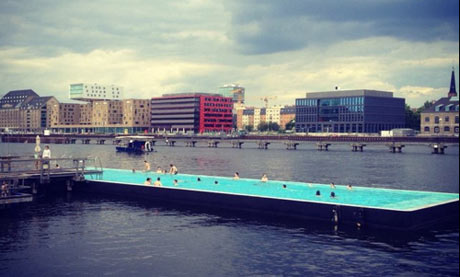 Badeschiff floating pool, Berlin, Germany