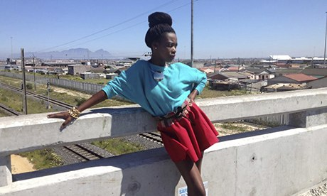 A model for Khayelitsha-based fashion designer Swagger Diariez, South Africa