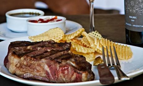 Steak, wine and chichimchuri sauce at Don Julio, Buenos Aires, Argentina