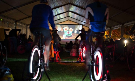 The cycle cinema at the Isle of Wight Cycling Festival
