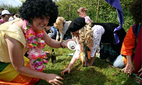 Worm charming event at Blackawton, Devon