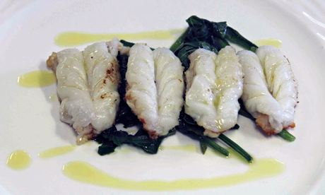 Prawns with spinach at Trattoria Barcaneta in Marano, Italy