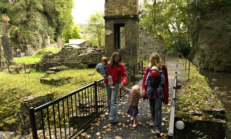 Visitors at Aberdulais Falls, south Wales