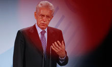 Italian Prime Minister Monti addresses news conference in Berlin