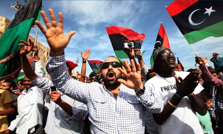 Libyans celebrate the death of Gaddafi in Martyrs square, Tripoli