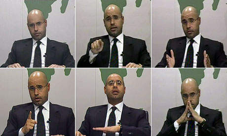 A composite of Saif al-Islam Gaddafi addressing the Libyan public on television
