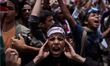 Anti-government protestors in Sana'a, Yemen