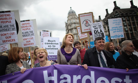 Jane Bercow and Jane Asher  join protesters on the Hardest Hit march in London