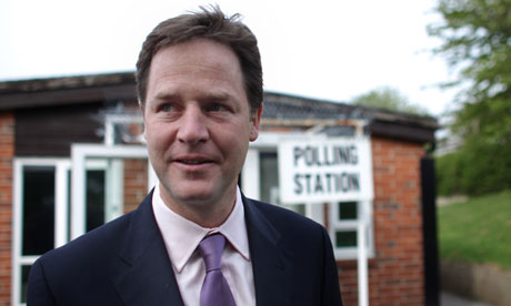 Deputy Prime Minister Nick Clegg casts his vote in the AV referendum in Sheffield