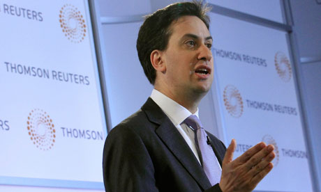 Labourleader Ed Miliband delivers a speech at the offices of Thomson Reuters in London