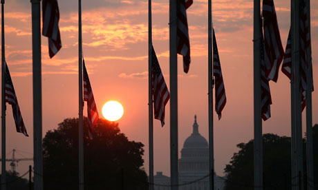 Flags at half-mast in Washington on the 10th anniversary of the 9/11 terrorist attack