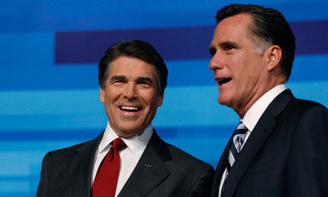 Rick Perry and Mitt Romney at the Republican Party debate in Orlando